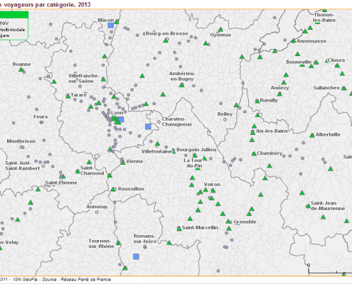 la localisation des gares de voyageurs en Rhône-Alpes