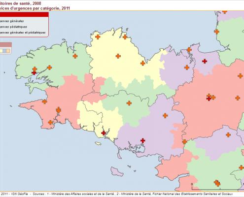 les territoires de santé et les services d'urgences en Bretagne